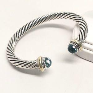 David Yurman 7mm Blue Topaz Cable Classic Bracelet